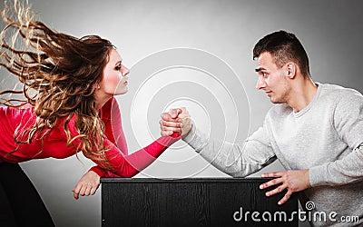 Arm Wrestling Challenge Between Young Couple Stock Photo - Image ...