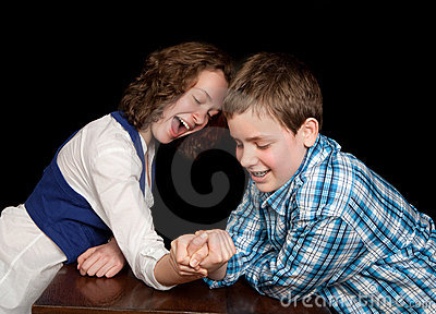 Arm-wrestling teenagers