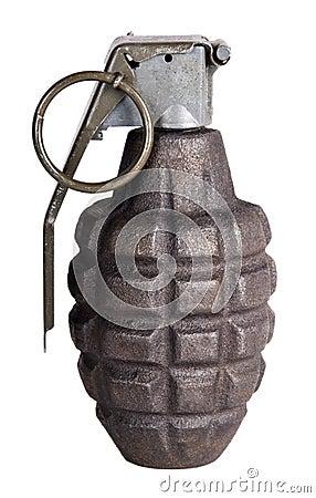 Arma della granata a mano della guerra, isolata con bianco