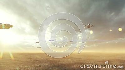 Armada statków kosmicznych leci nad opuszczoną obcą planetą Koncepcja kosmiczna Animacja w pętli ilustracji