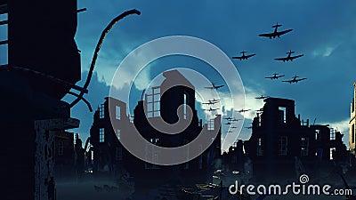 Armada wojskowego samolotu leci nad ruinami opuszczonego miasta royalty ilustracja