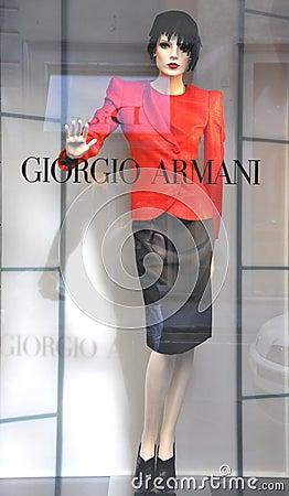 Armani women fashion shop in Italy  Editorial Stock Image