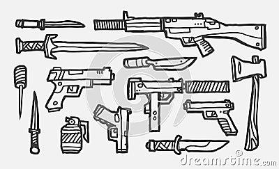 Armas desenhadas mão