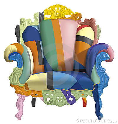 Armchair with abstract colors