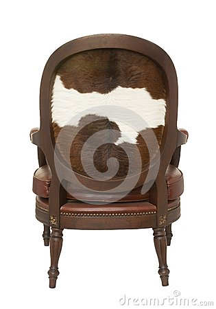 Armchair with cow skin