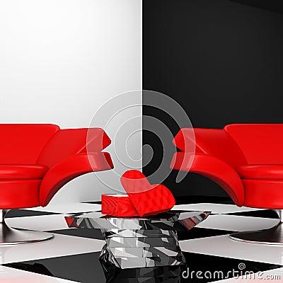 Armchair with heart