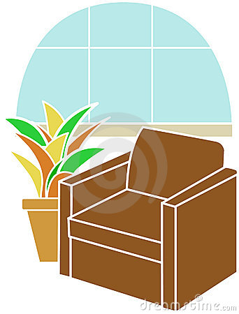 Armchair Infront Of Bay Window Accented By Plant Royalty Free Stock Photo - Image: 14660435