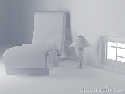 Armchair and lamp in a white room