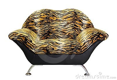 Armchair with tiger fur