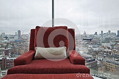 Armchair in a window with panoramic London view