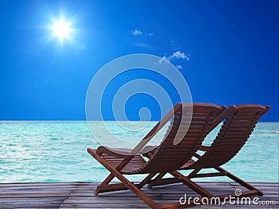 The armchairs on the beach
