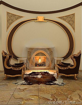 Free Armchairs Near Fireplace In Modern Interior. Royalty Free Stock Photography - 18739677