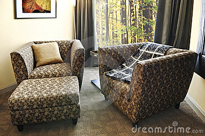 Armchairs with ottoman