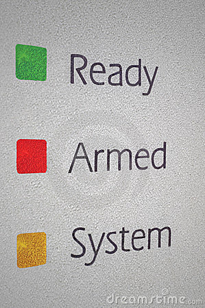 Armed home security alarm system panel macro