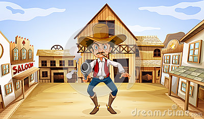 An armed man near the saloon