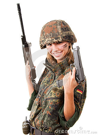 Armed military woman
