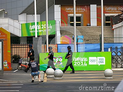 Armed Officers Patrol the Youth Olympic Games Editorial Image