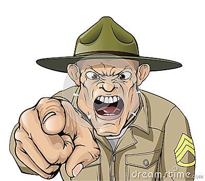 Armee-Bohrgerätsergeantschreien der Karikatur verärgertes