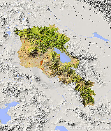Armenia, shaded relief map