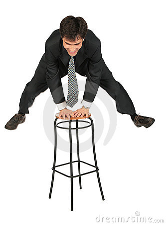 Armenian businessman jumps above  stool