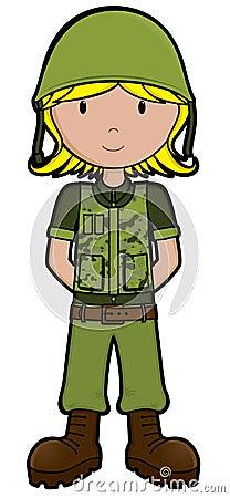 Armia dziewczyny wektora