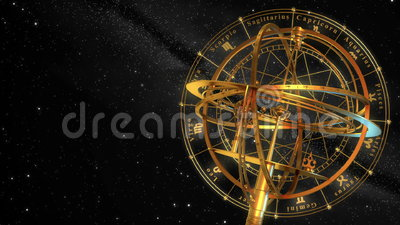 Armilarnej sfery i zodiaka znaki Czarny tło