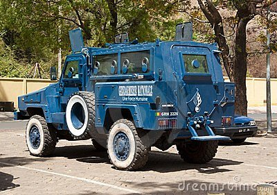Armored police car in Bamako Editorial Stock Photo