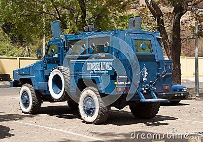 Armored police car in Bamako Editorial Stock Photo