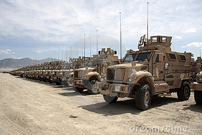Armored Vehicles Ready for Issue in Afghanistan Editorial Image
