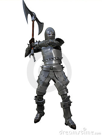Free Armoured Medieval Knight Brandishing War Axe Royalty Free Stock Image - 19015596