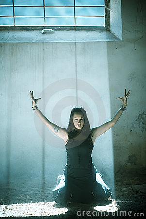 Arms raised gothic girl