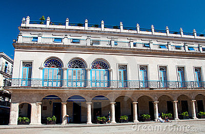 Arms Square and the Hotel Santa Isabel Cuba Editorial Photo