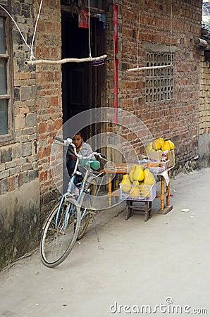 armut schlechte wohnung in einem dorf in china redaktionelles stockbild bild 77391659. Black Bedroom Furniture Sets. Home Design Ideas