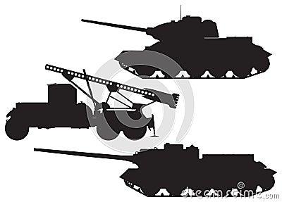Army Battle technique vector silhouettes