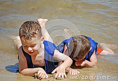 Army crawl on the beach
