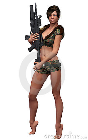 Free Army Girl Royalty Free Stock Photos - 8178098