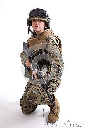 Army girl with helmet