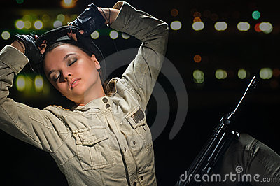 Army girl in night lights