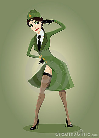 Army girl Pin-up illustration