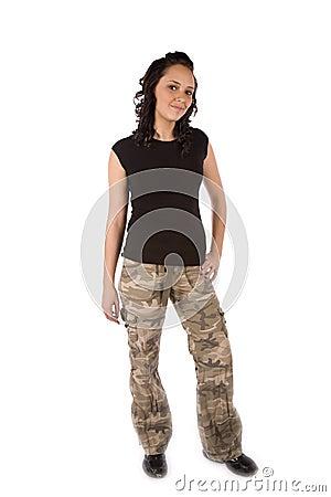 Army girl smirk