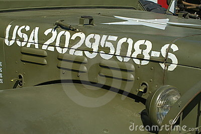 Army jeep with numbers