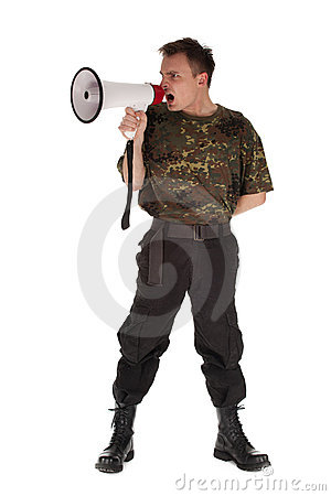 Army man with megaphone