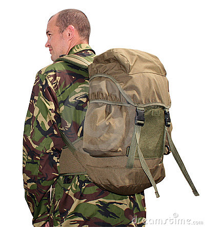 Army man wearing rucksack