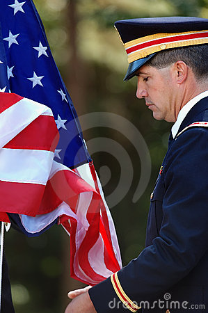 Army Officer Raising the Flag