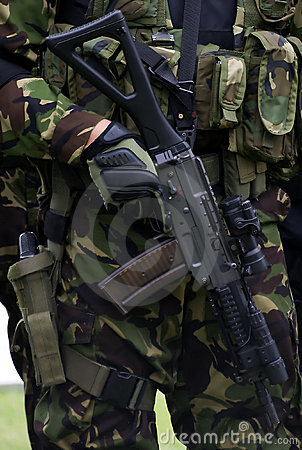 Army and police combat uniform with  autorifle