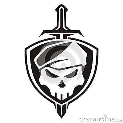 Army Skull Shield Stock Illustration - Image: 49966641