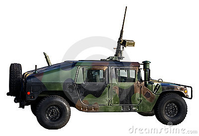 Army truck isolated on white