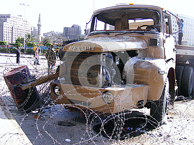 Army truck in tahrir square Egyptian revolution Editorial Photo
