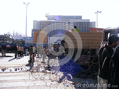 Army truck in tahrir square Egyptian revolution Editorial Photography