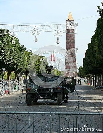Army of Tunisia in Square of Tunisia. Editorial Image